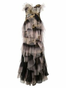 Marchesa embroidered ruffle panel gown - Black