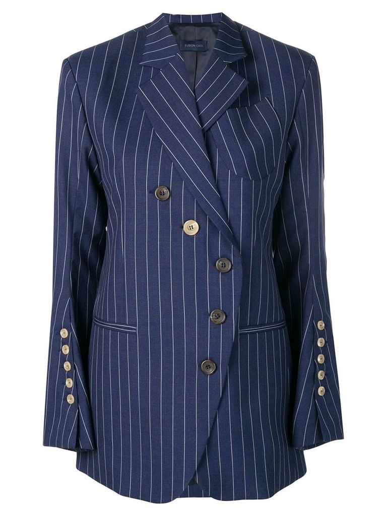 Eudon Choi wrap style blazer - Blue