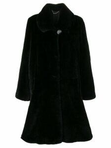 Liska classic fur trimmed coat - Black