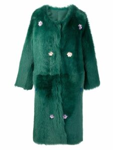 Liska Montena long shearling coat - Green
