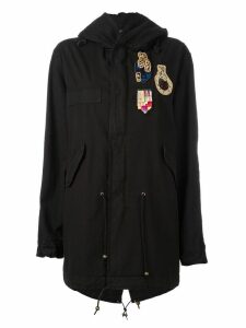 Mr & Mrs Italy patched mid parka - Black
