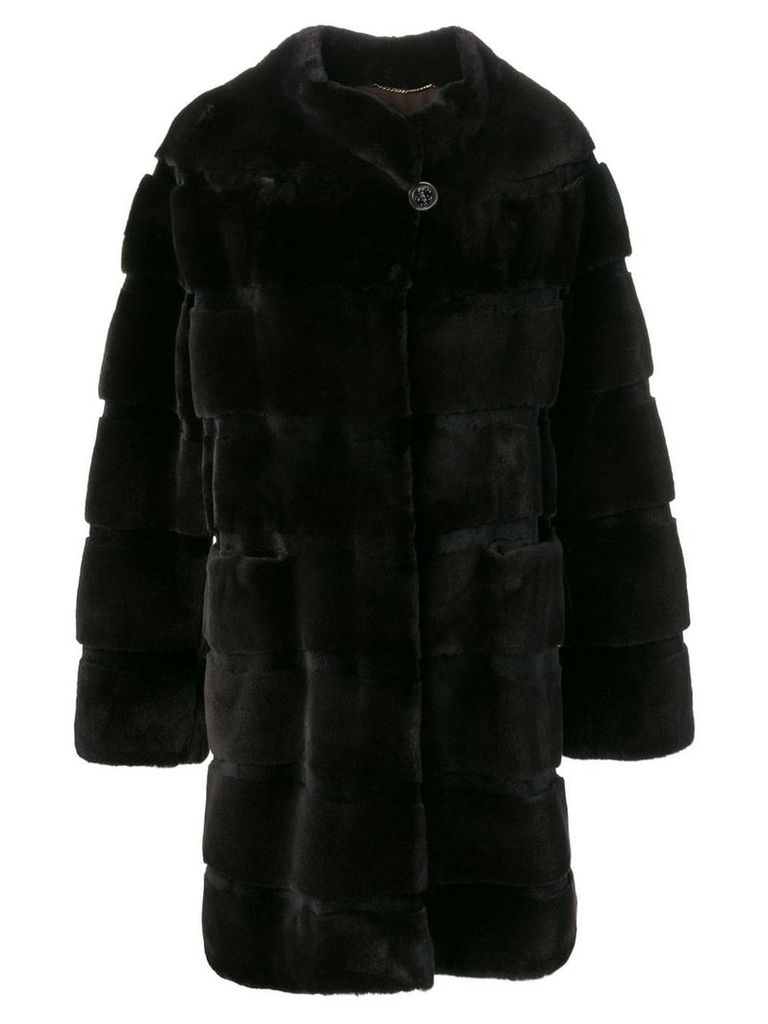 Liska midi fur trimmed coat - Brown