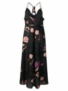 Nanushka deep-v floral dress - Nero
