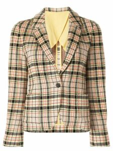 Caban plaid fitted blazer - Multicolour