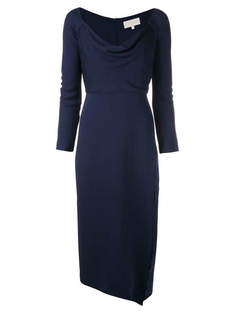 Michelle Mason cowl neck midi dress - Blue
