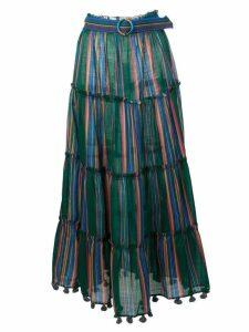 Zimmermann striped tiered flared skirt - Green