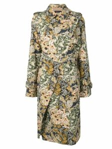 Rokh floral wrap trench coat - Blue