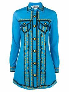 Moschino pixel print shirt dress - Blue