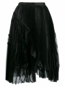 Ermanno Scervino floral lace inserts pleated skirt - Black
