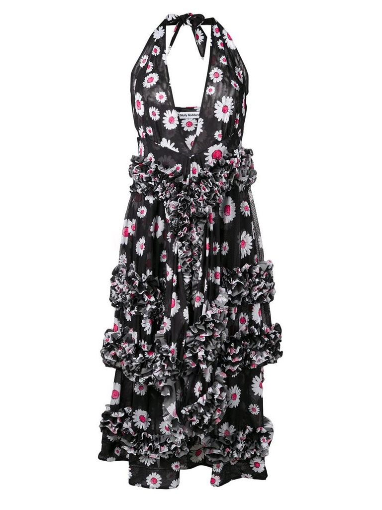 Molly Goddard floral frilled midi dress - Black