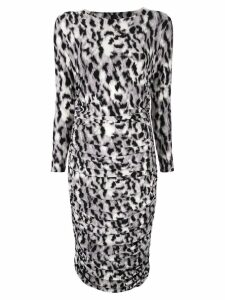 Norma Kamali leopard print striped dress - White