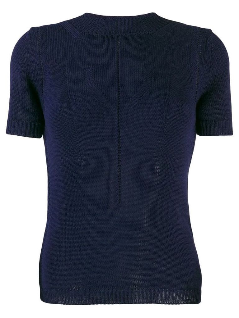 Emporio Armani perforated knitted top - Blue