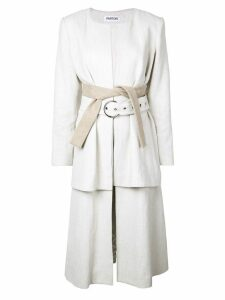 Partow double belted coat - White