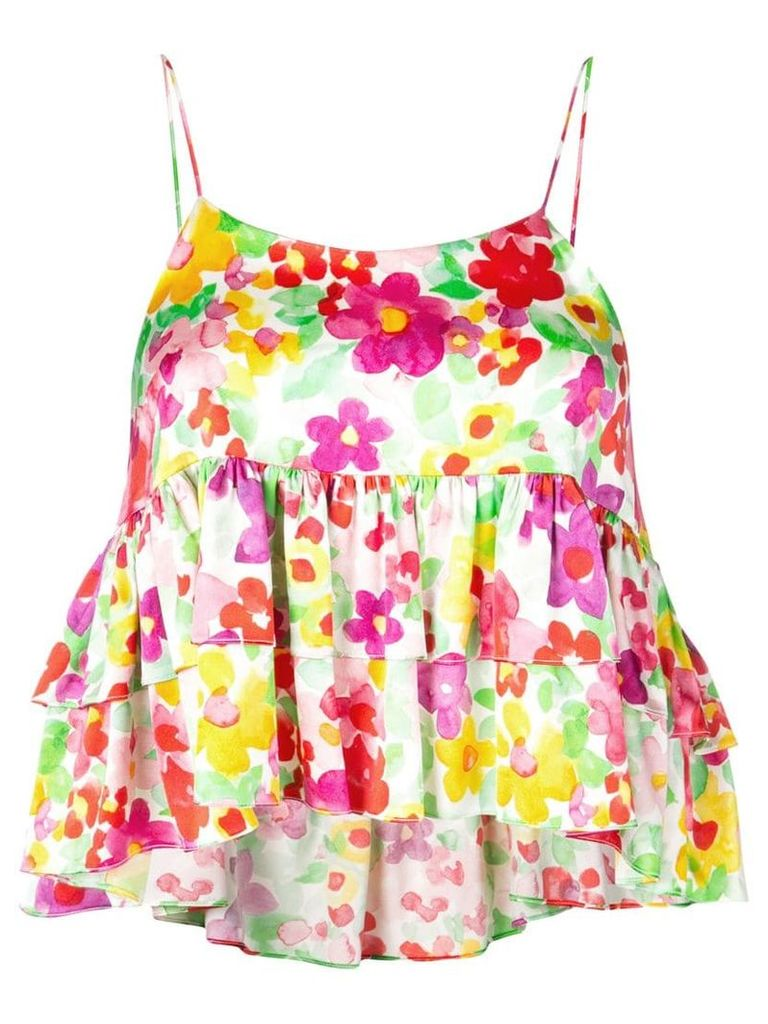 Caroline Constas floral ruffle tank top - Multicolour