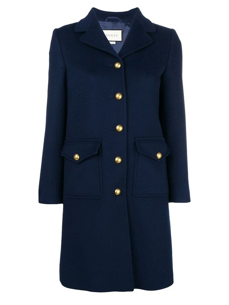 Gucci single breasted coat - Blue