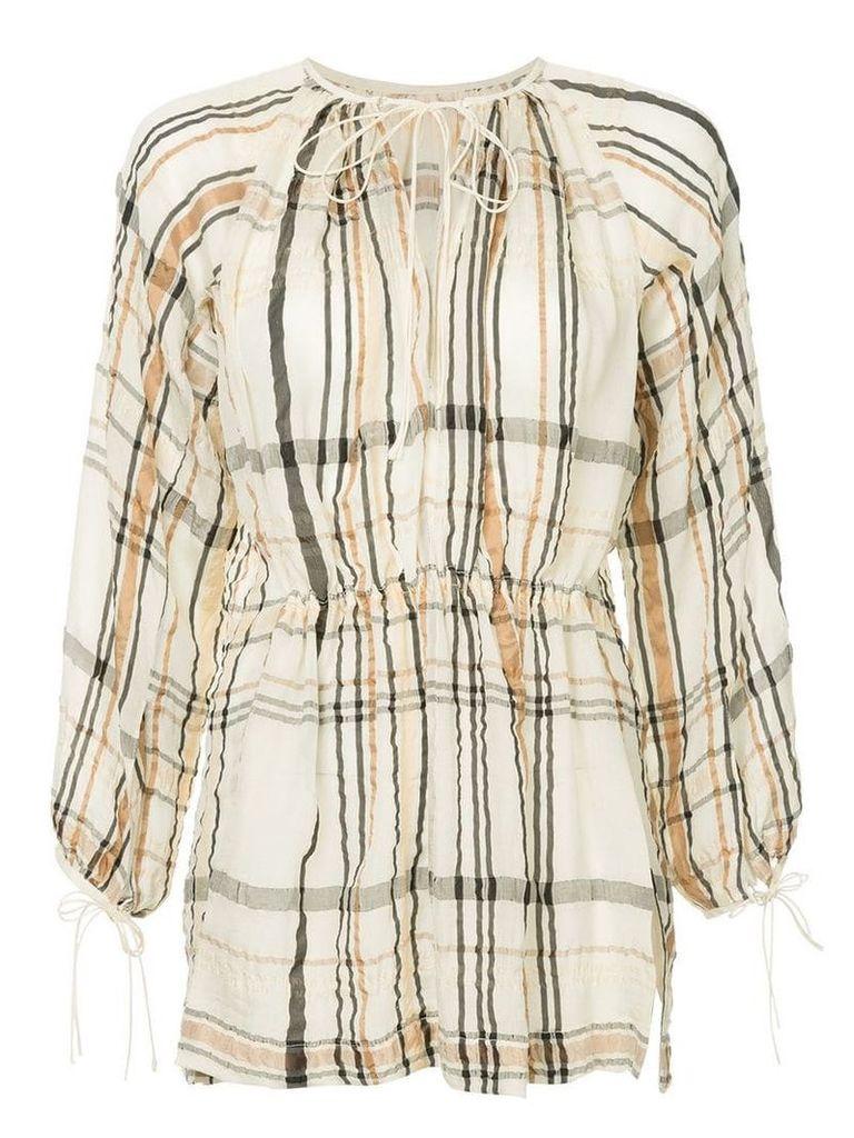Kitx check printed loose blouse - White