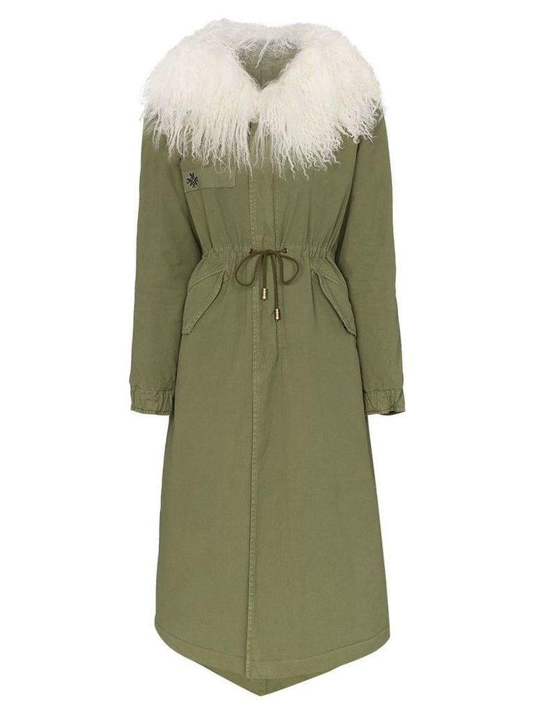 Mr & Mrs Italy shearling collar parka coat - Green