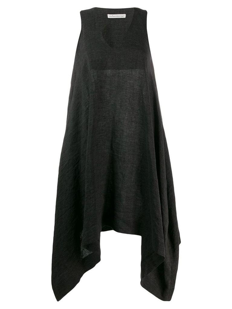 Stefano Mortari v-neck drape dress - Black