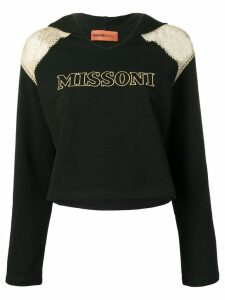 Missoni Mare mesh shoulder logo hoodie - Black