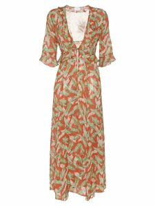 We Are Leone leaf print maxi robe - Red
