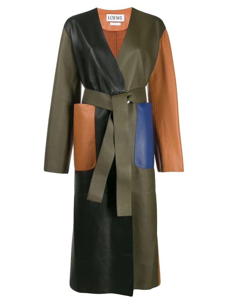 Loewe colour block leather coat - Green