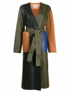 Loewe colour block leather coat - Green