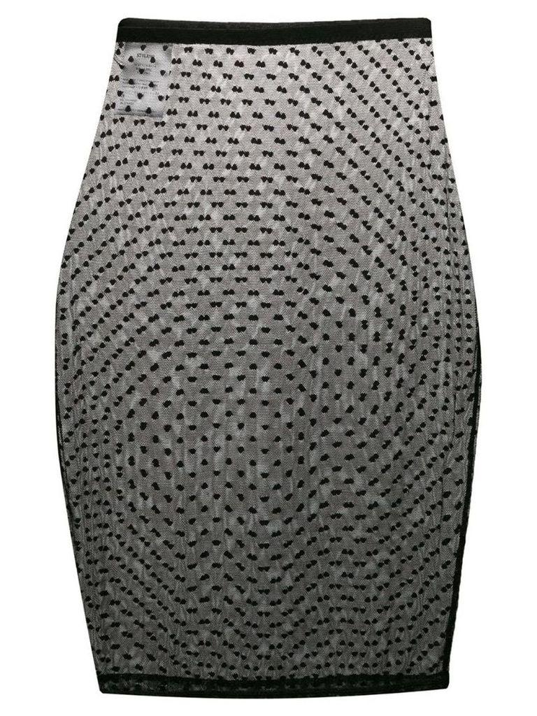Styland polka dots mesh skirt - Black
