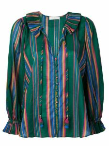 Zimmermann ruffle trim striped blouse - Green