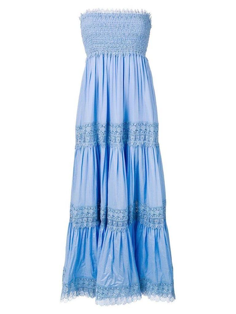 Charo Ruiz strapless embroidered maxi dress - Blue