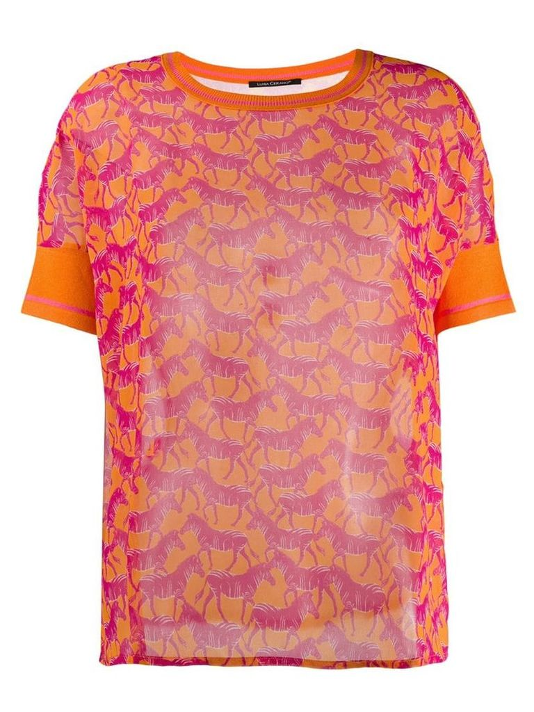 Luisa Cerano zebra print T-shirt - Orange