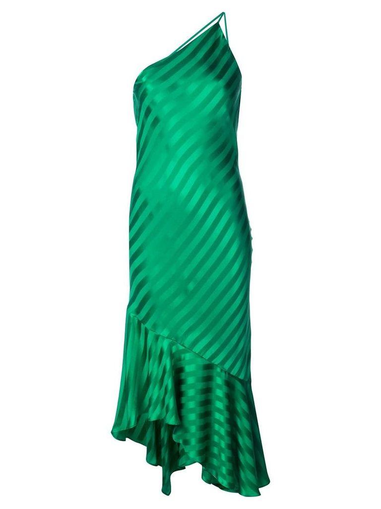 Michelle Mason one-shoulder ruffled hem dress - Green