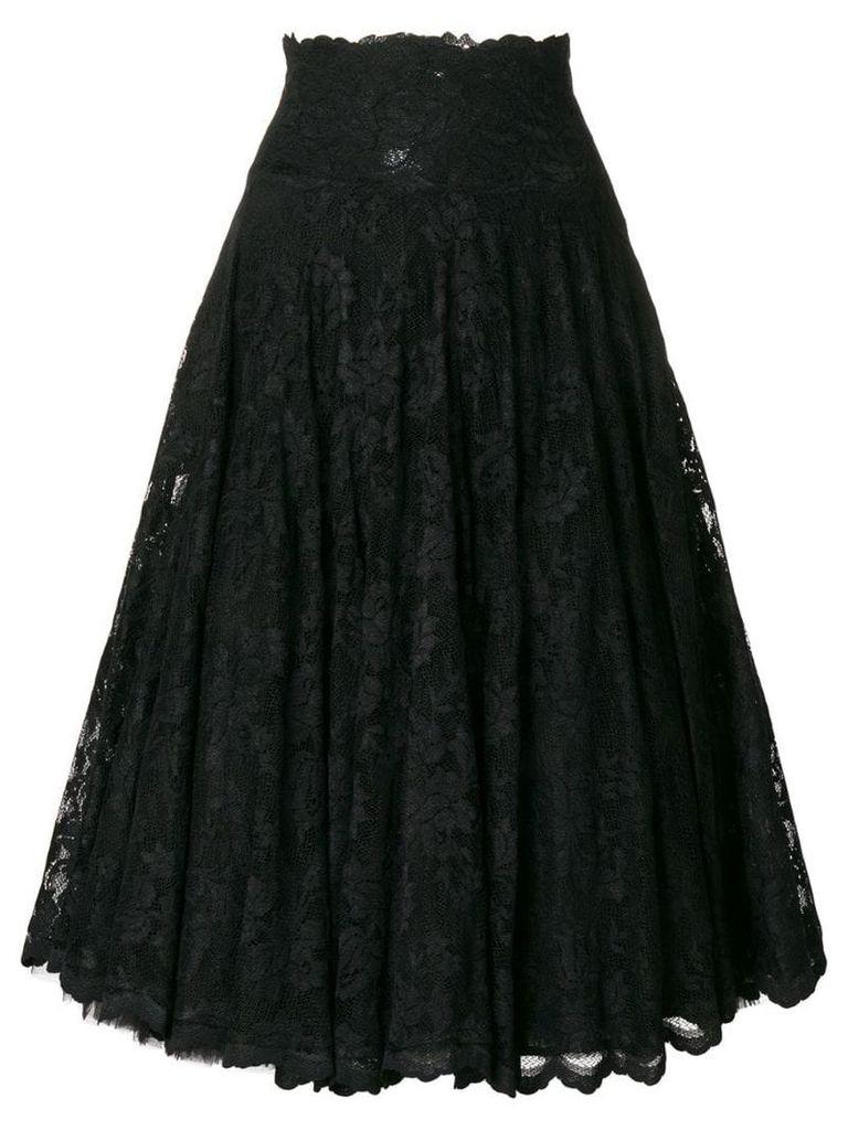 Olvi´S flared lace-embroidered skirt - Black
