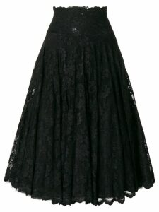 Olvi´S flared lace-embroidered skirt - Black