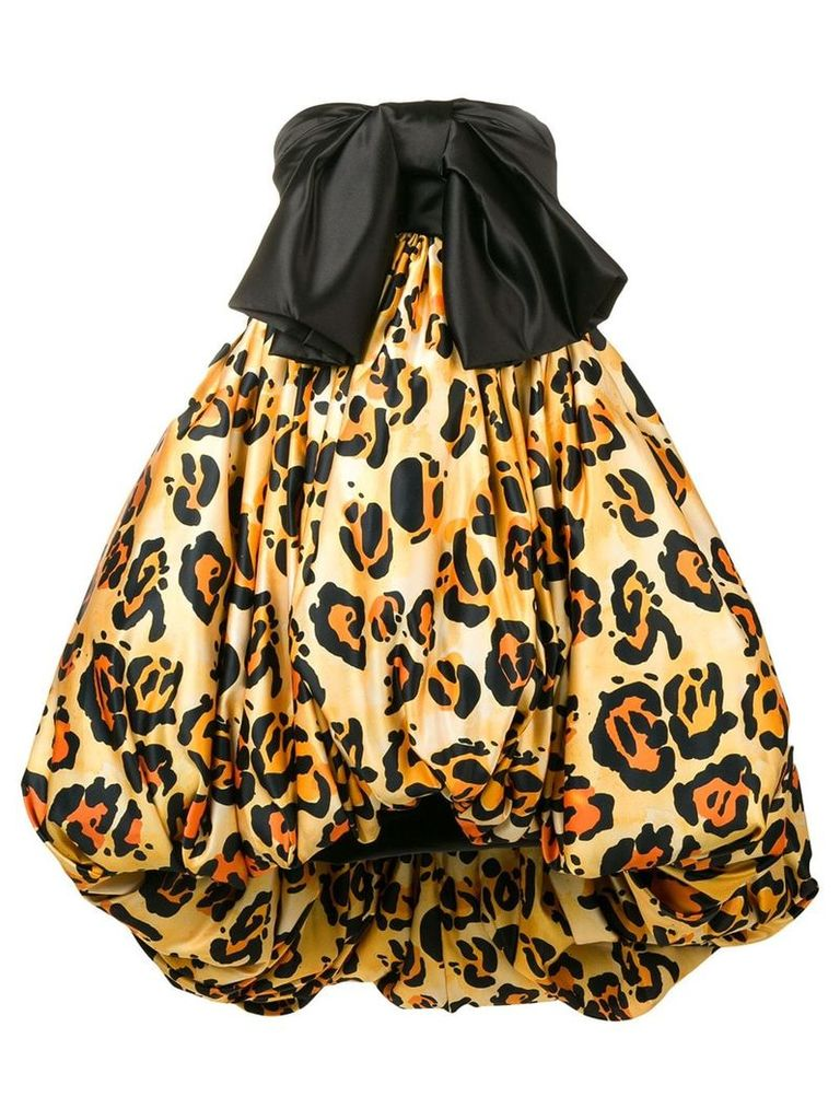 Richard Quinn leopard print puffball dress - Black