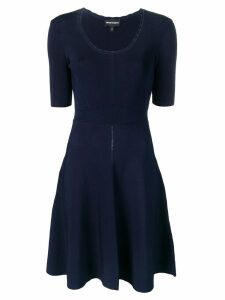 Emporio Armani decorative stitching knitted dress - Blue