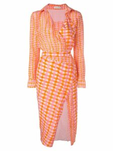 Altuzarra checked fitted shirt dress - Pink