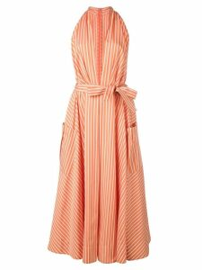 Sara Battaglia plunge neck striped dress - Orange