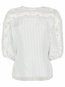 Chloé lace trim striped blouse - White