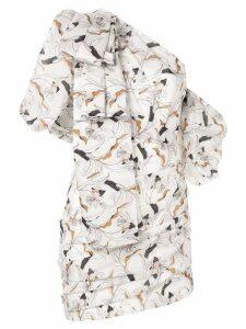 Acler Maves floral one shoulder dress - White