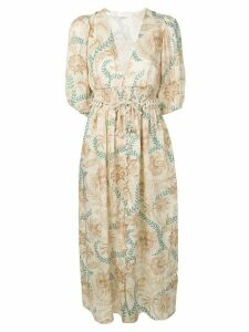 Zimmermann plunge button front dress - NEUTRALS