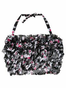 Molly Goddard floral frilled crop top - Black
