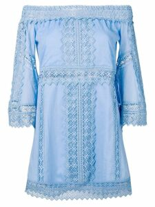 Charo Ruiz off-shoulder embroidered dress - Blue