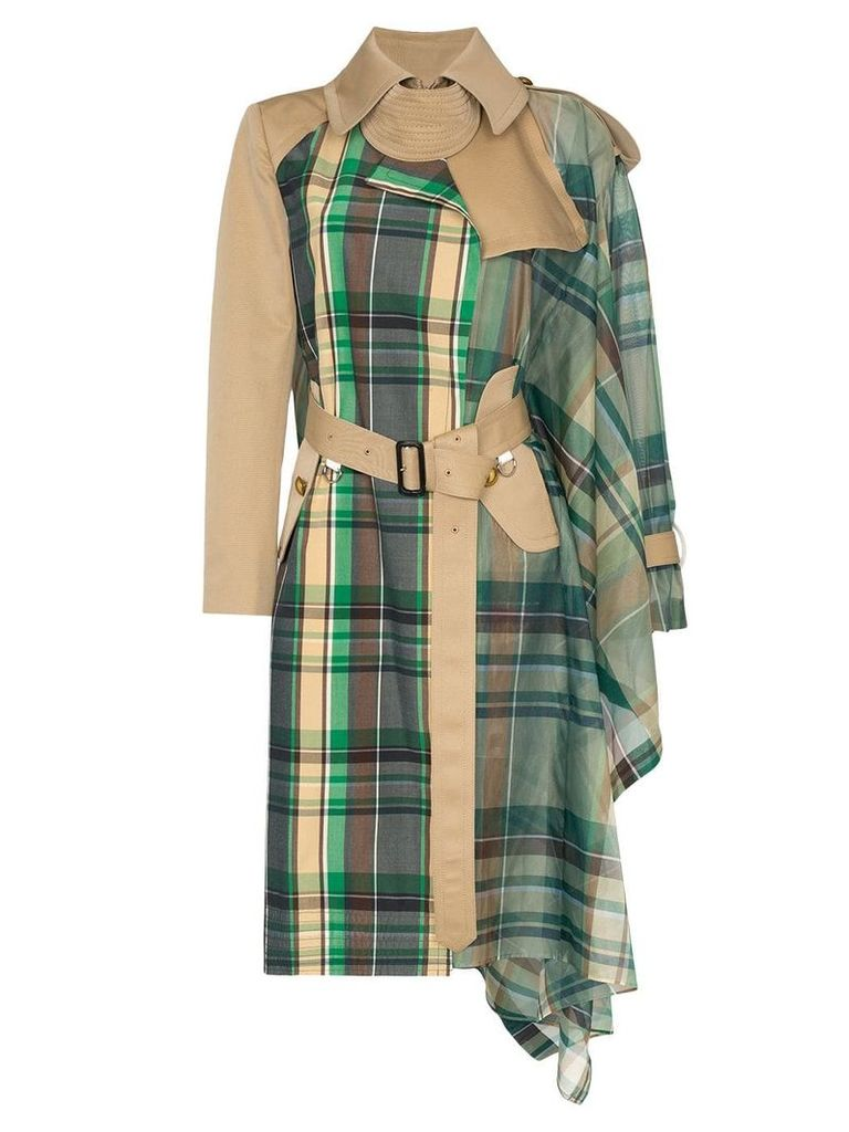 Sacai checked scarf trench coat - Green