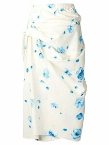 Marni floral print wrap skirt - Neutrals