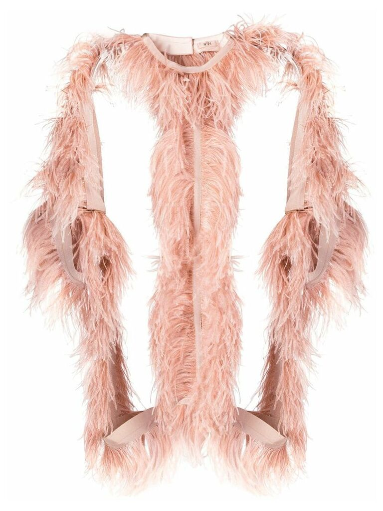 Nº21 structured jacket with ostrich feather - Pink
