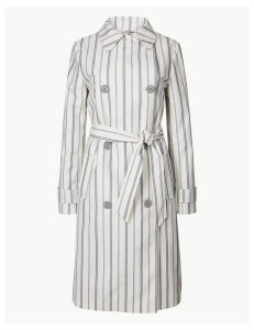 M&S Collection Striped Double Breasted Trench Coat