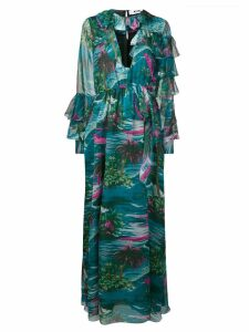 MSGM tropical print ruffle dress - Green