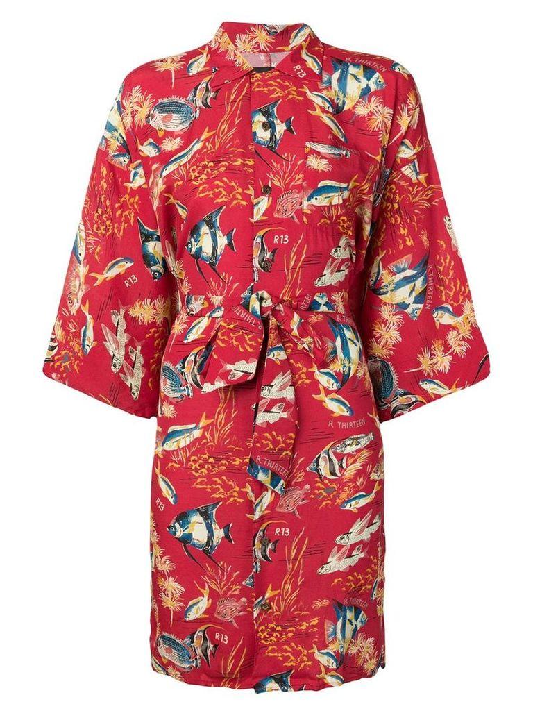 R13 fish print kimono dress - Red