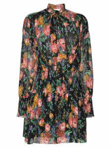 Zimmermann Allia shirred floral mini-dress - Black Floral
