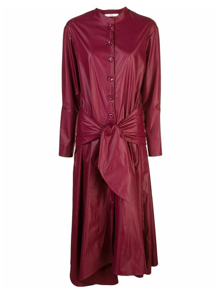Tibi glossy shirtdress with removable waist tie - Red